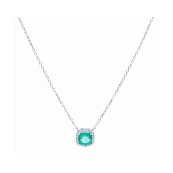 Closeup photo of Halo Set Cushion Zambian Emerald Pendant Necklace