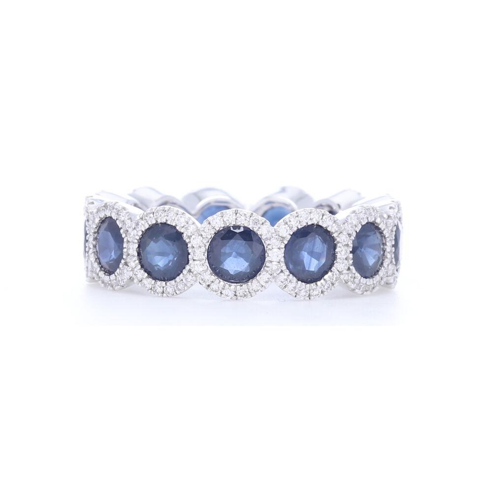 Diamond Halo Set Round Blue Sapphire Eternity Ring