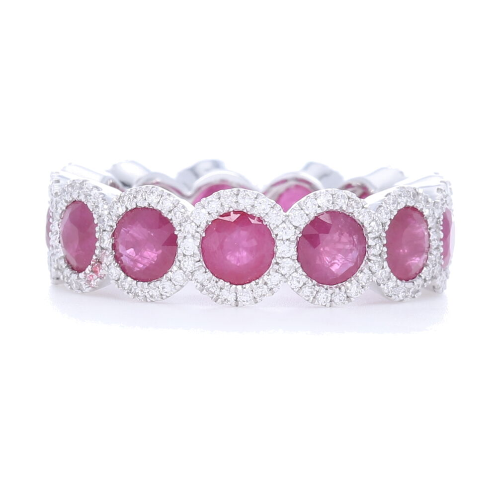 Halo Set Ruby Eternity Ring