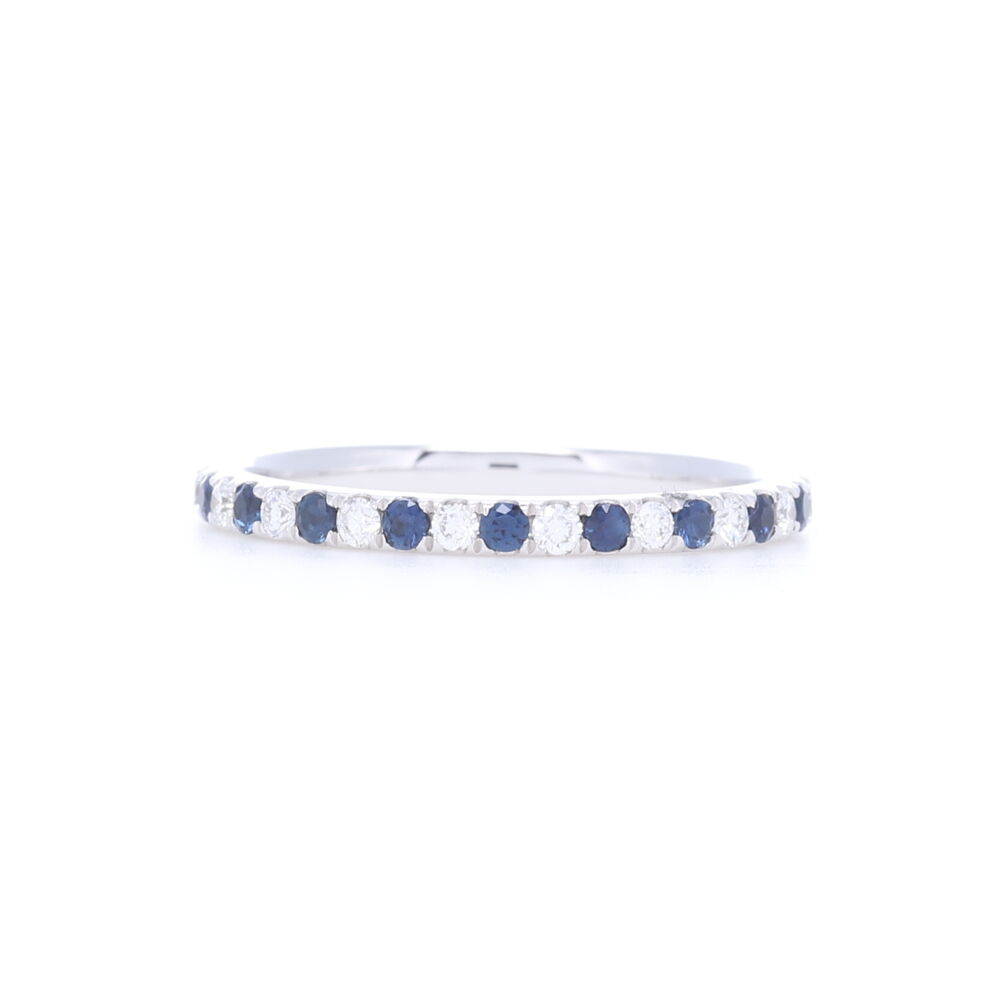 Round Cut Diamond and Sapphire Alternating Stack Ring