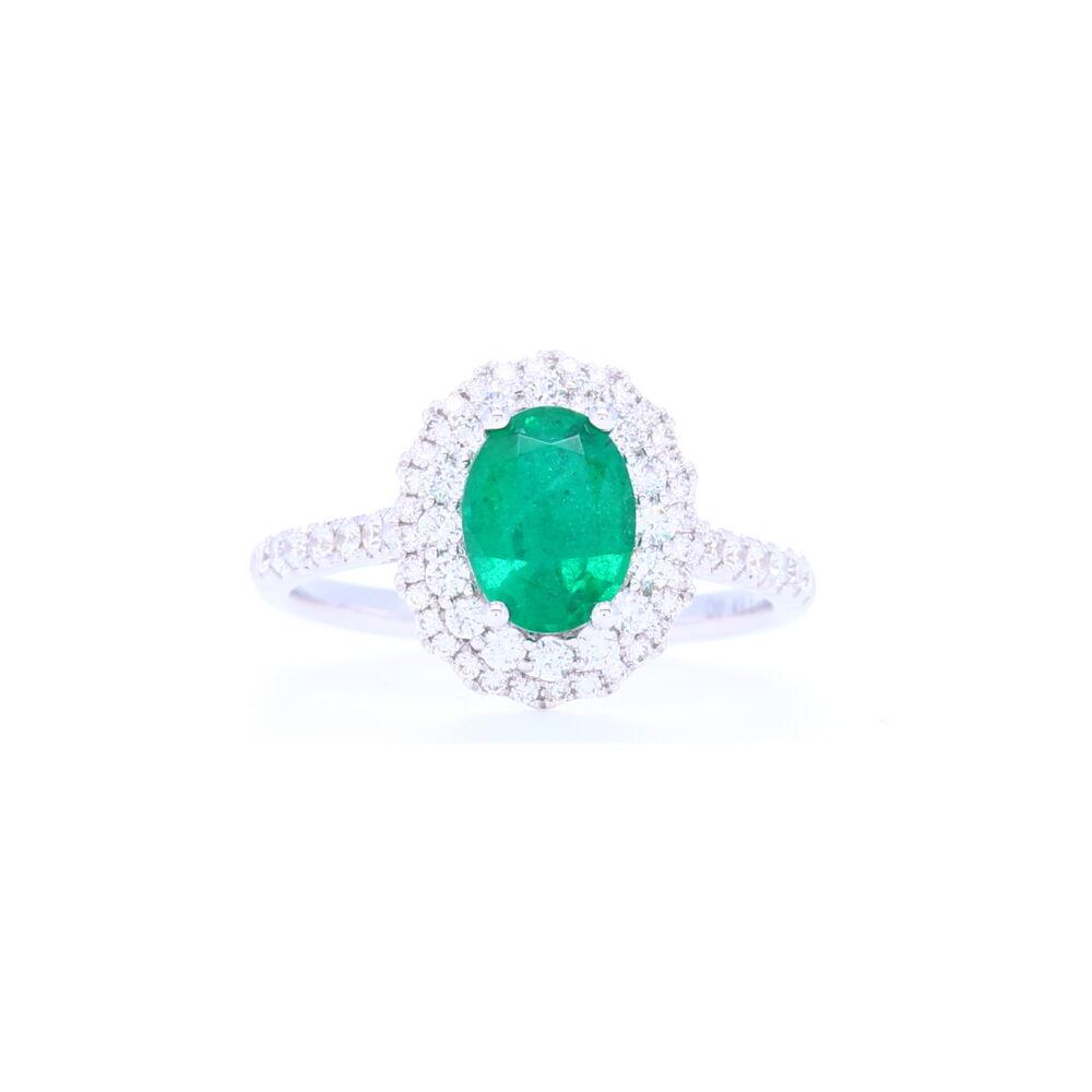 18k White Gold Halo Set Oval Cut Zambian Emerald Ring with Diamond Shank