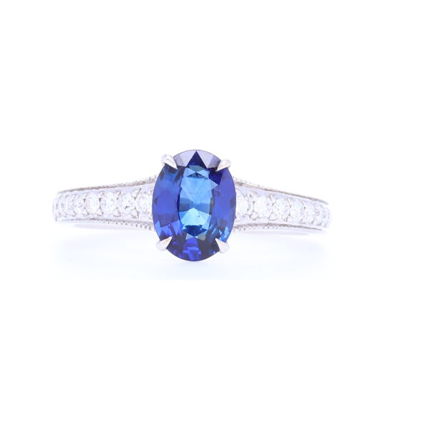 Closeup photo of Vivid Blue Oval Sapphire Solitaire with Pave Diamond Shank