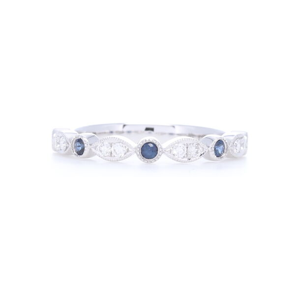 Closeup photo of 14k White gold Sapphire and Diamond Stack Ring