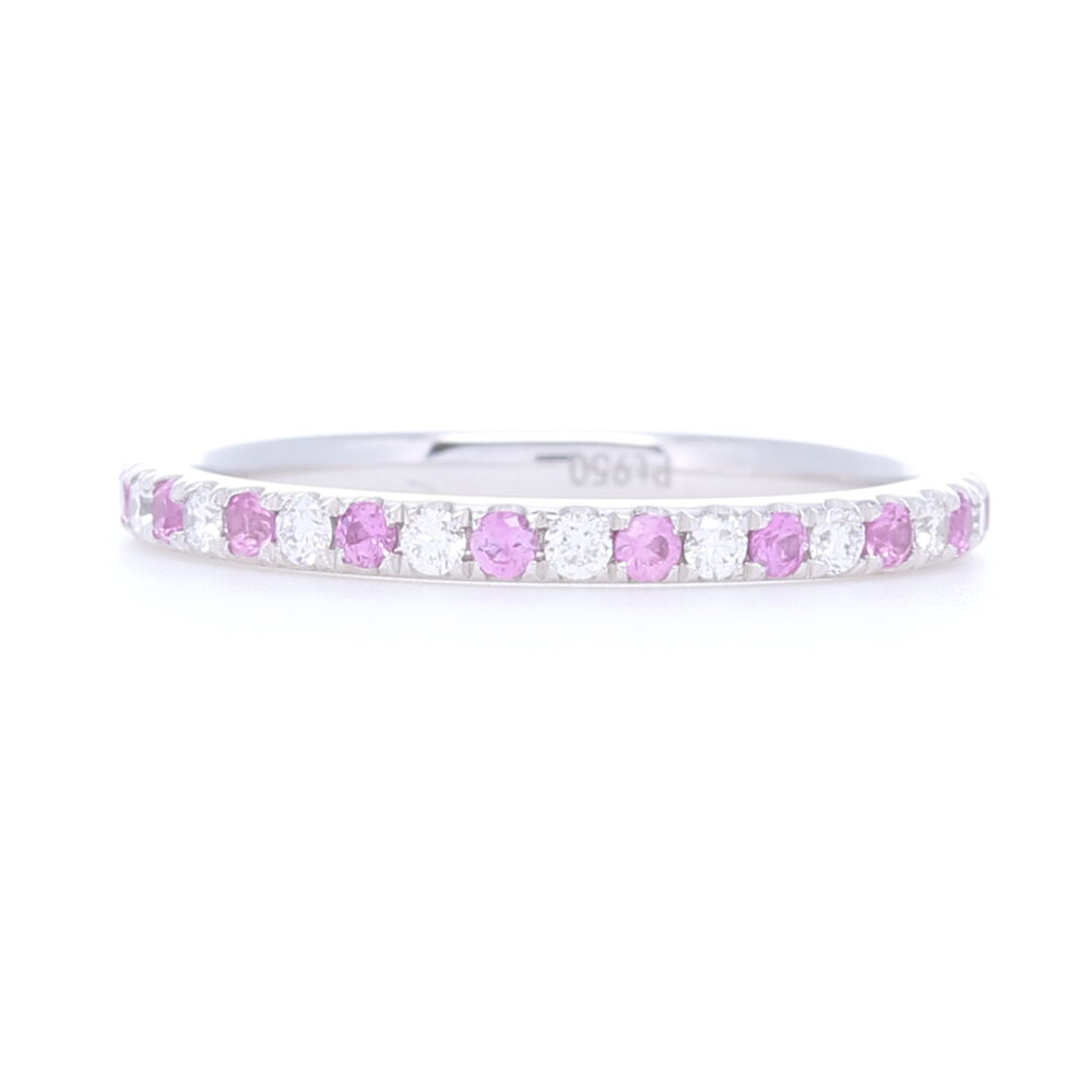 Platinum Alternating Pink Sapphire and Diamond Stack Eternity Ring
