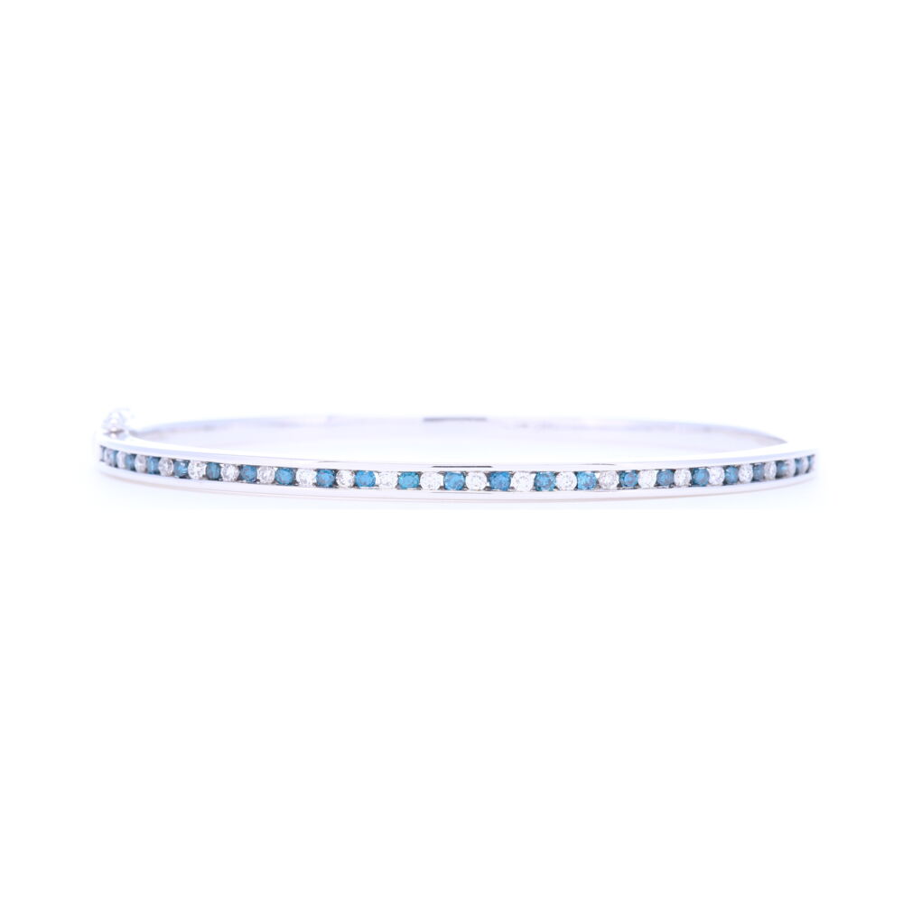 14k White Gold Blue and White Diamond Bracelet
