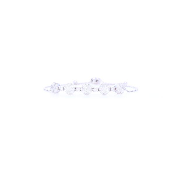 Closeup photo of 14K White Gold Round Diamond Bolo Bracelet