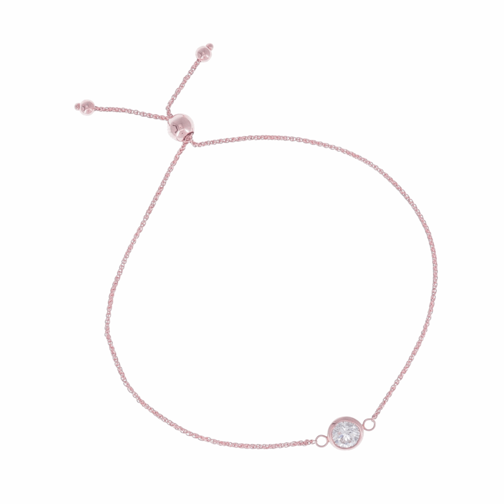Single Bezel Set Diamond Bolo Bracelet Set in 14k Rose Gold