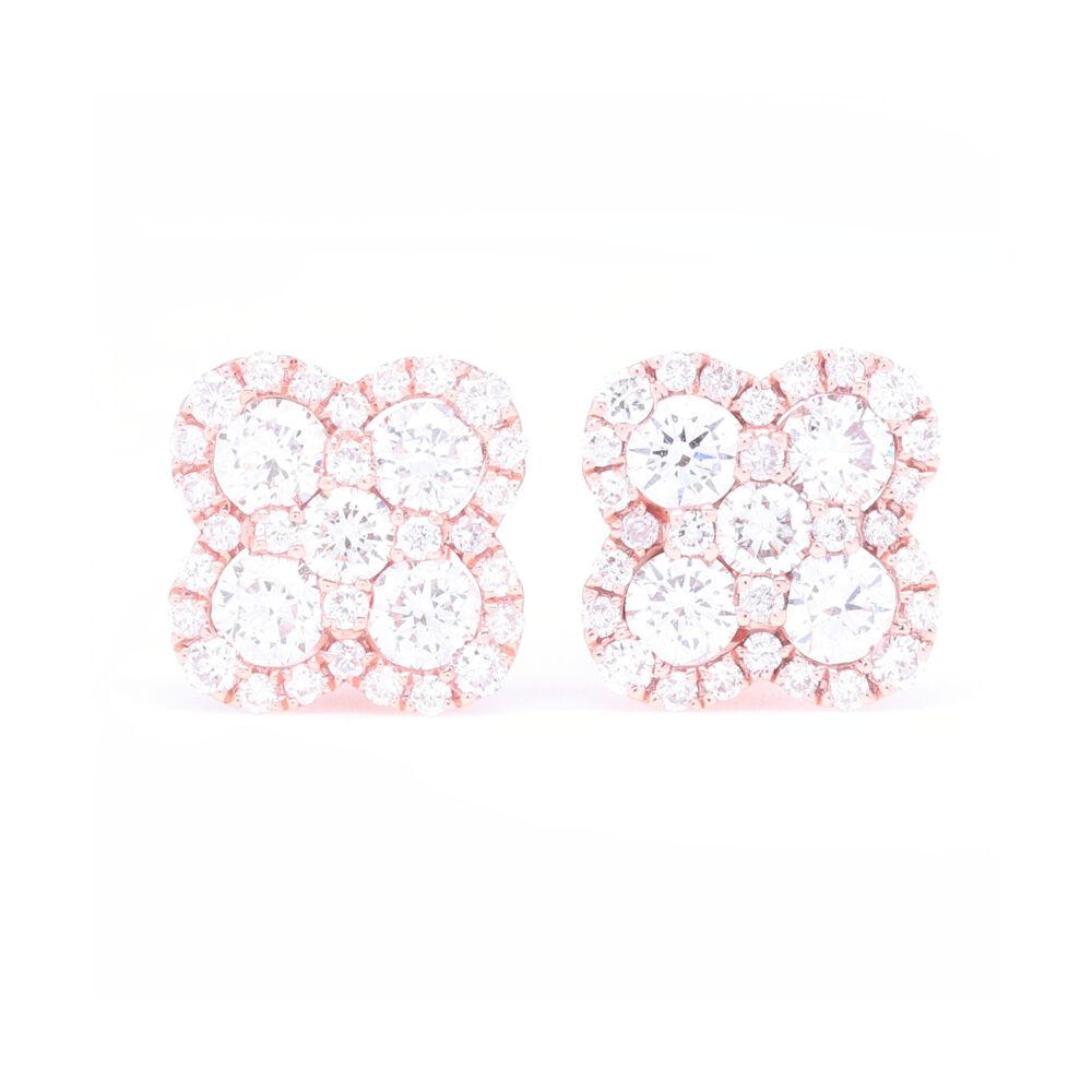 14k Rose Gold Pave Diamond Clover Stud Earrings