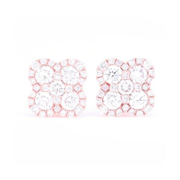 Closeup photo of 14k Rose Gold Pave Diamond Clover Stud Earrings