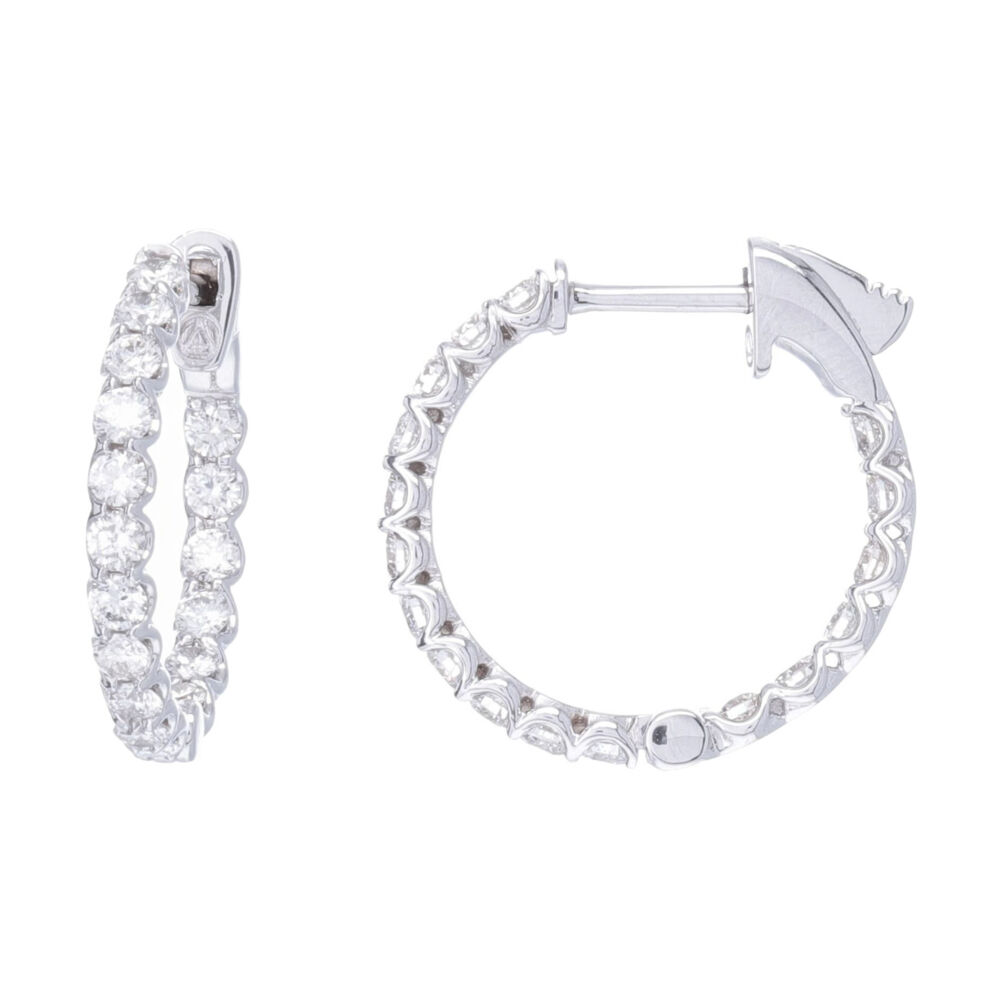Shared Prong Round Diamond In & Out Round Shape Hoop Earrings