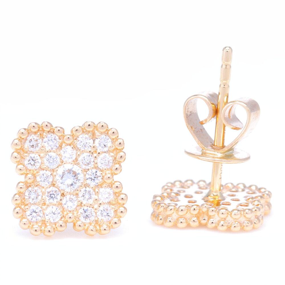 Image 2 for 14K Gold Clover Motif Diamond Earrings