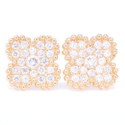 Closeup photo of 14K Gold Clover Motif Diamond Earrings