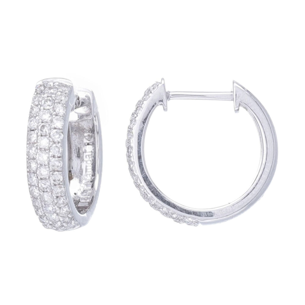 3 Rows of Pave diamonds set on a rounded front hoop 1/2'' Hoop Earring