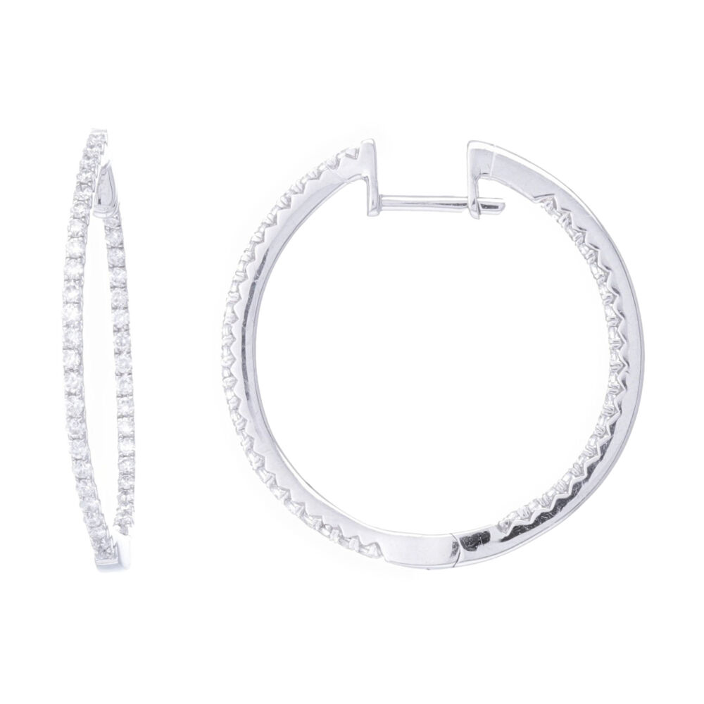 14k White Gold Round Diamond Round Shaped In & Out Hoop Earrings