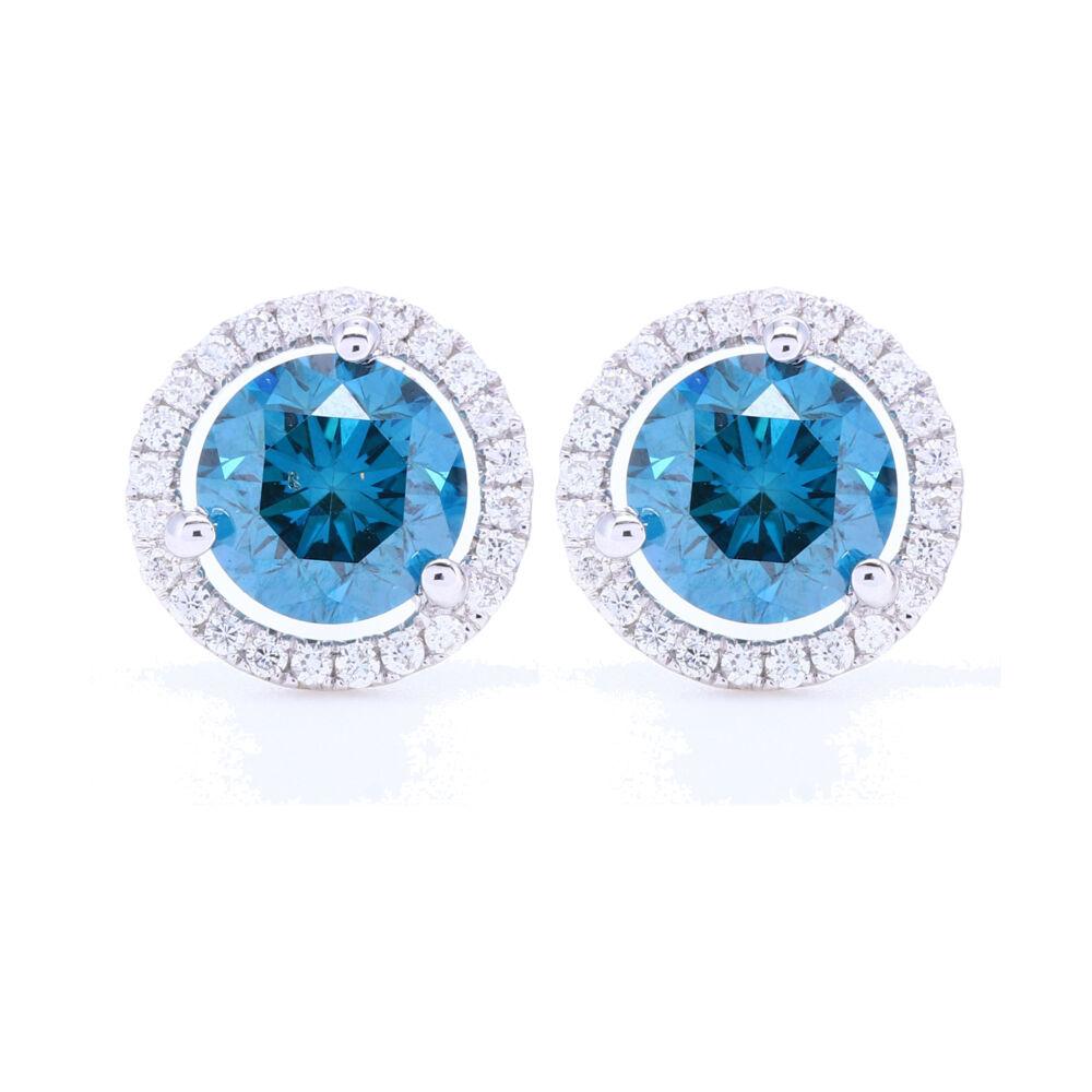 Blue Diamond Stud Earrings with White Diamond Halo