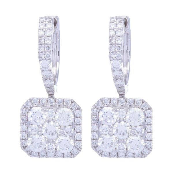 Closeup photo of 14k White Gold Diamond Square Drop Dangle Diamond Earrings