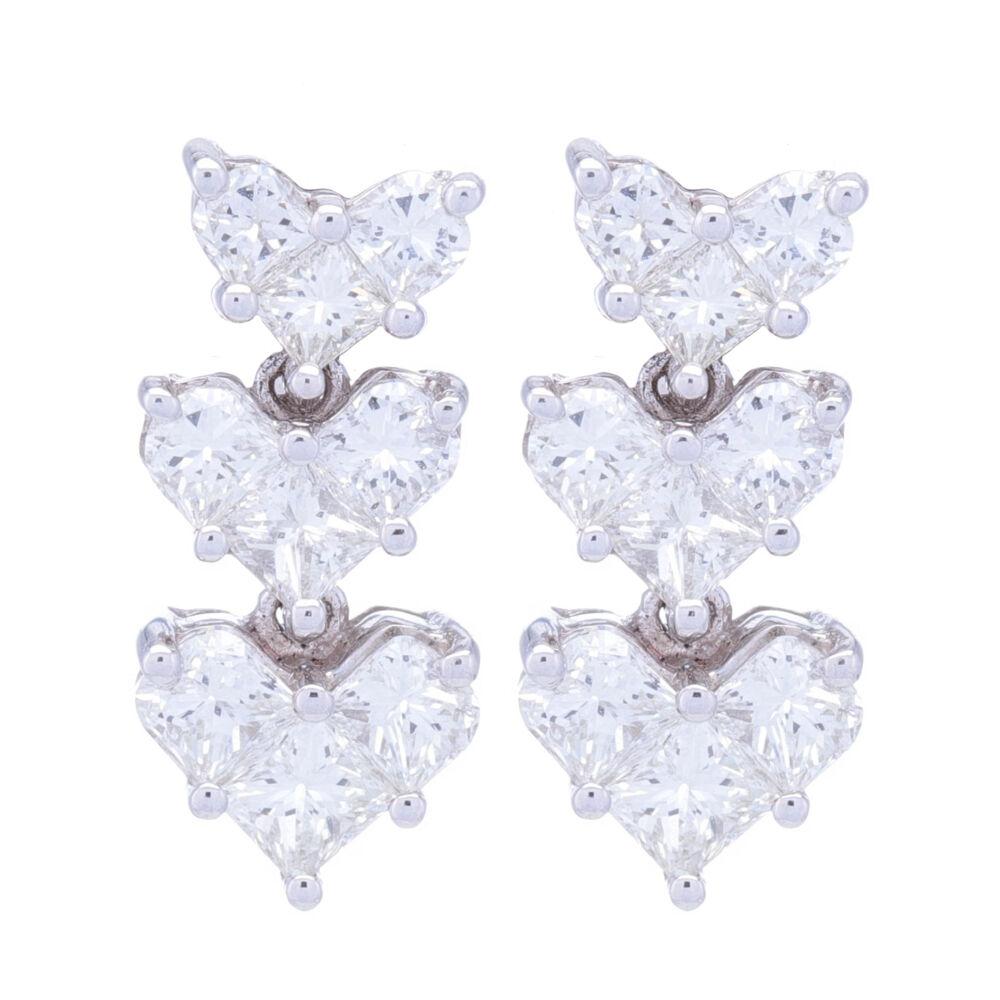18k White Gold Heart Shape Drop Earrings