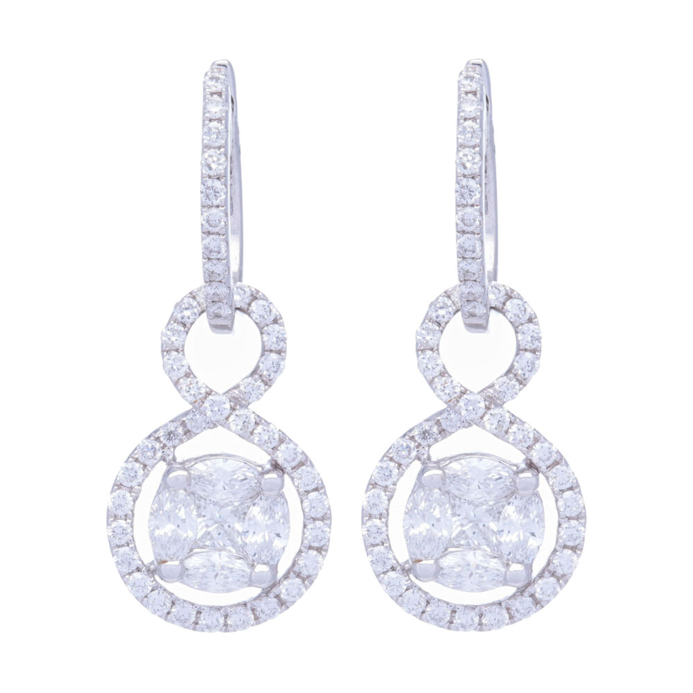 Clustered Diamonds Earring Charms with Infinity Halo