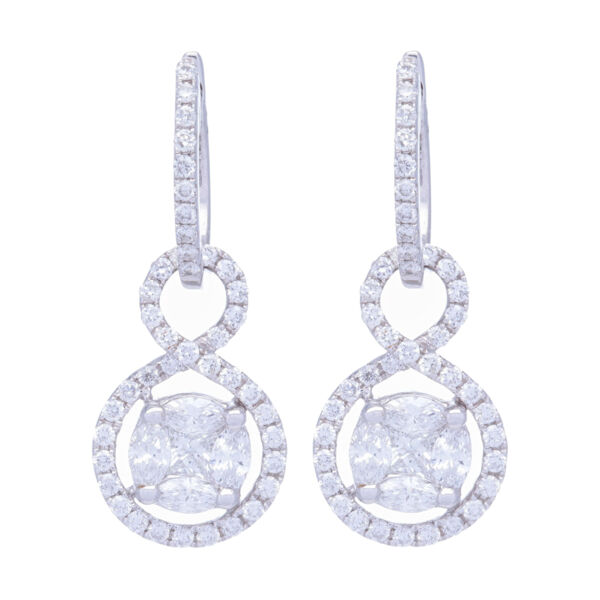 Closeup photo of Clustered Diamonds Earring Charms with Infinity Halo