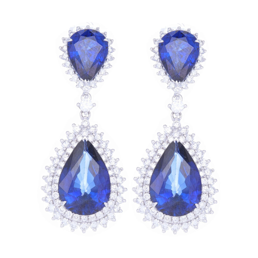 14k White Gold Round Diamond and Diffused Sapphire Earrings