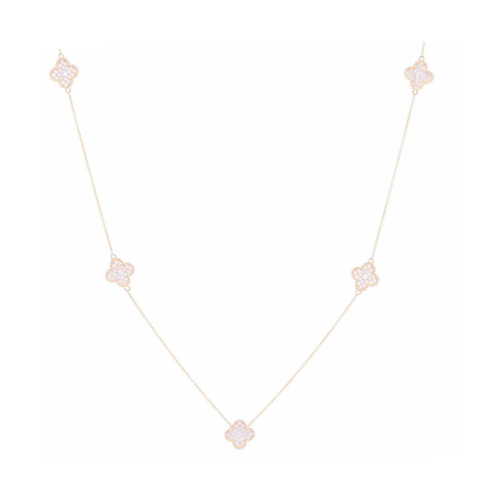 14k Gold Diamond Clover Necklace