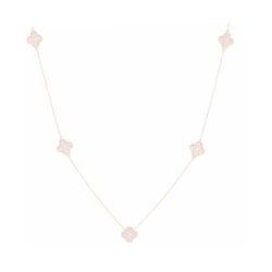 Closeup photo of 14k Gold Diamond Clover Necklace