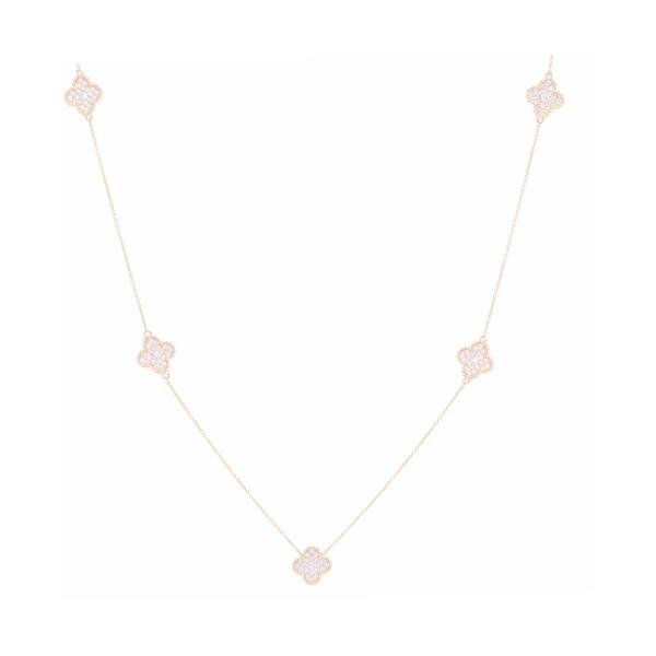 Closeup photo of 14k White Gold Diamond Clover Necklace