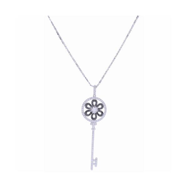 Closeup photo of 14K White Gold Black and White Diamond Key Necklace