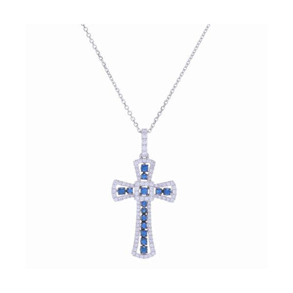 Closeup photo of 14k White Gold Sapphire and Diamond Cross Necklace