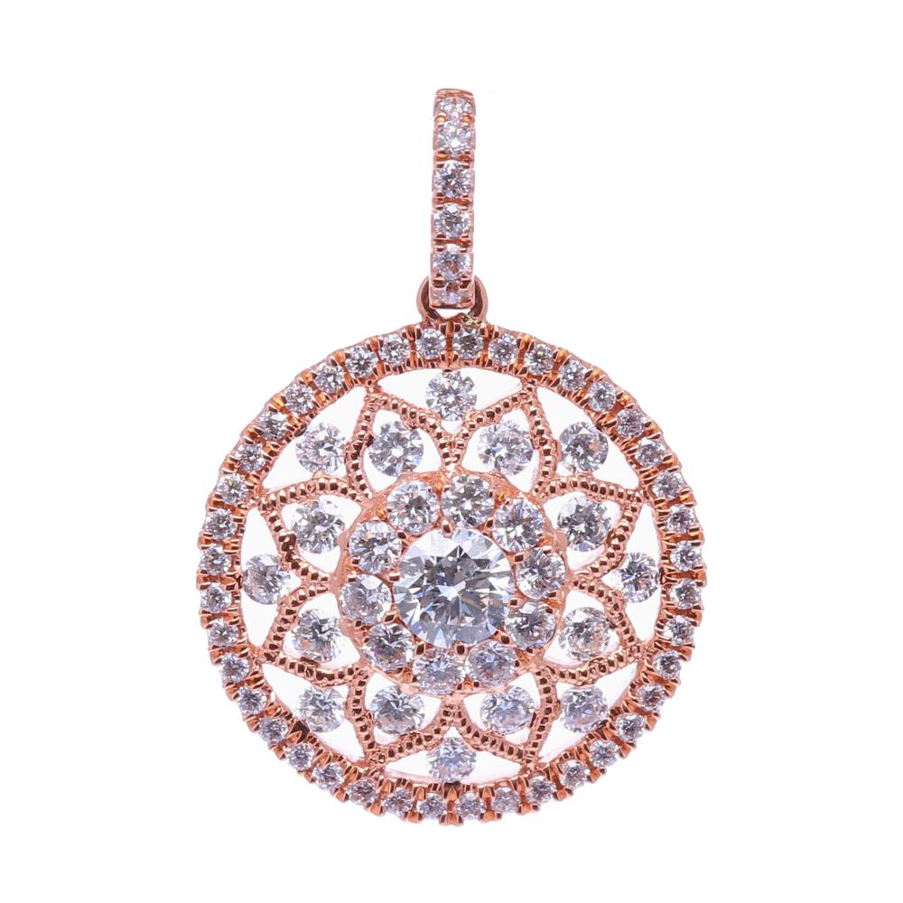 14k Rose Gold Prong Set Round Diamond Pendant
