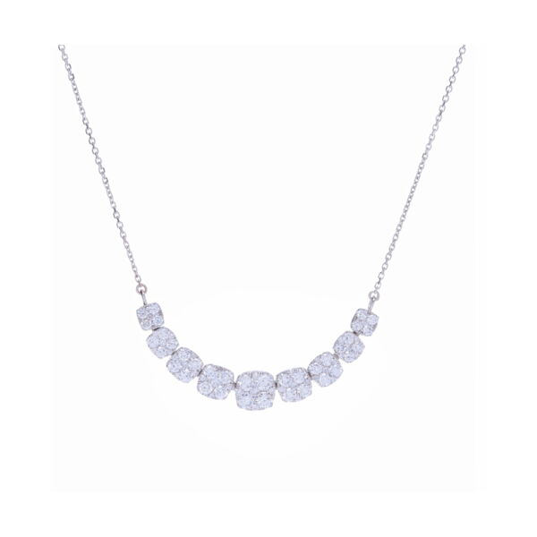 Closeup photo of 14k White Gold Round Diamond Pendant Necklace