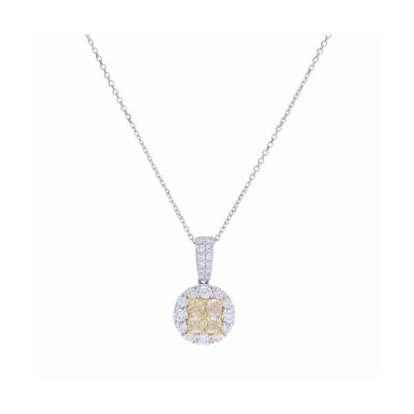 Closeup photo of Custer Set White & Yellow Diamond Pendant Necklace