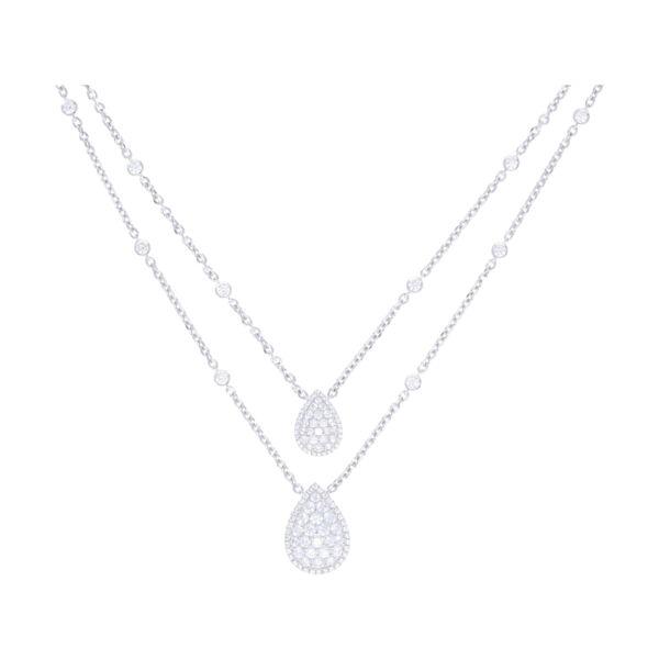 Closeup photo of 14k White Gold Split Round Diamond Chain Necklace