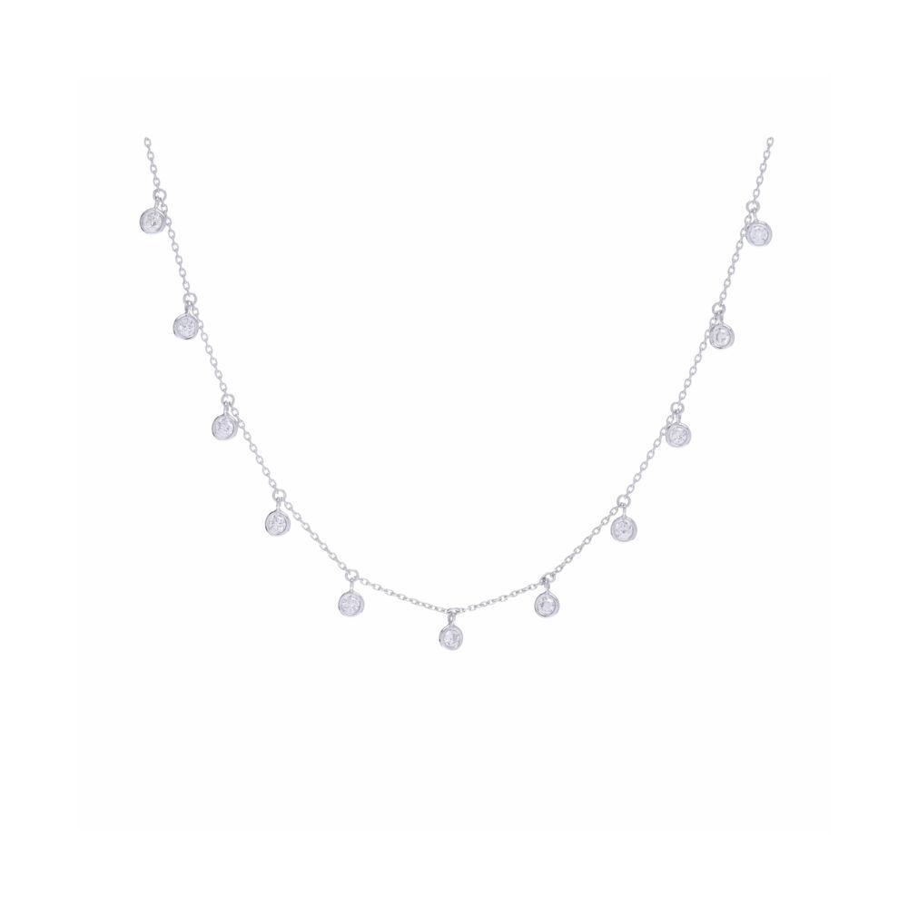 14k White Gold 11 Stone Bezel Set Diamond Fringe Necklace