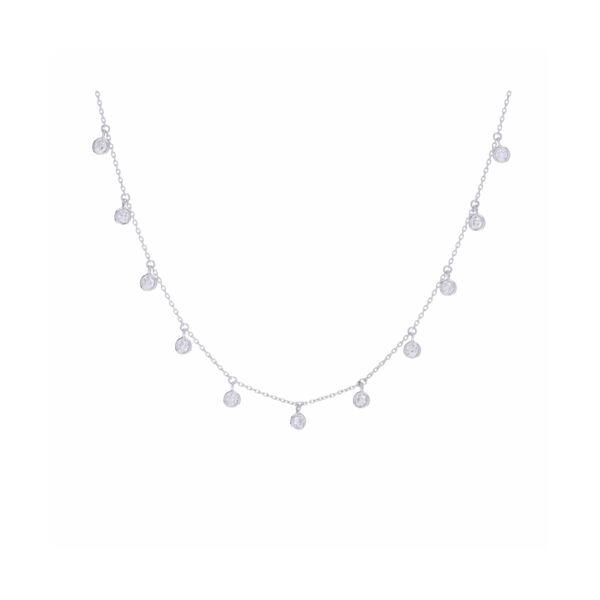 Closeup photo of 14k White Gold 11 Stone Bezel Set Diamond Fringe Necklace