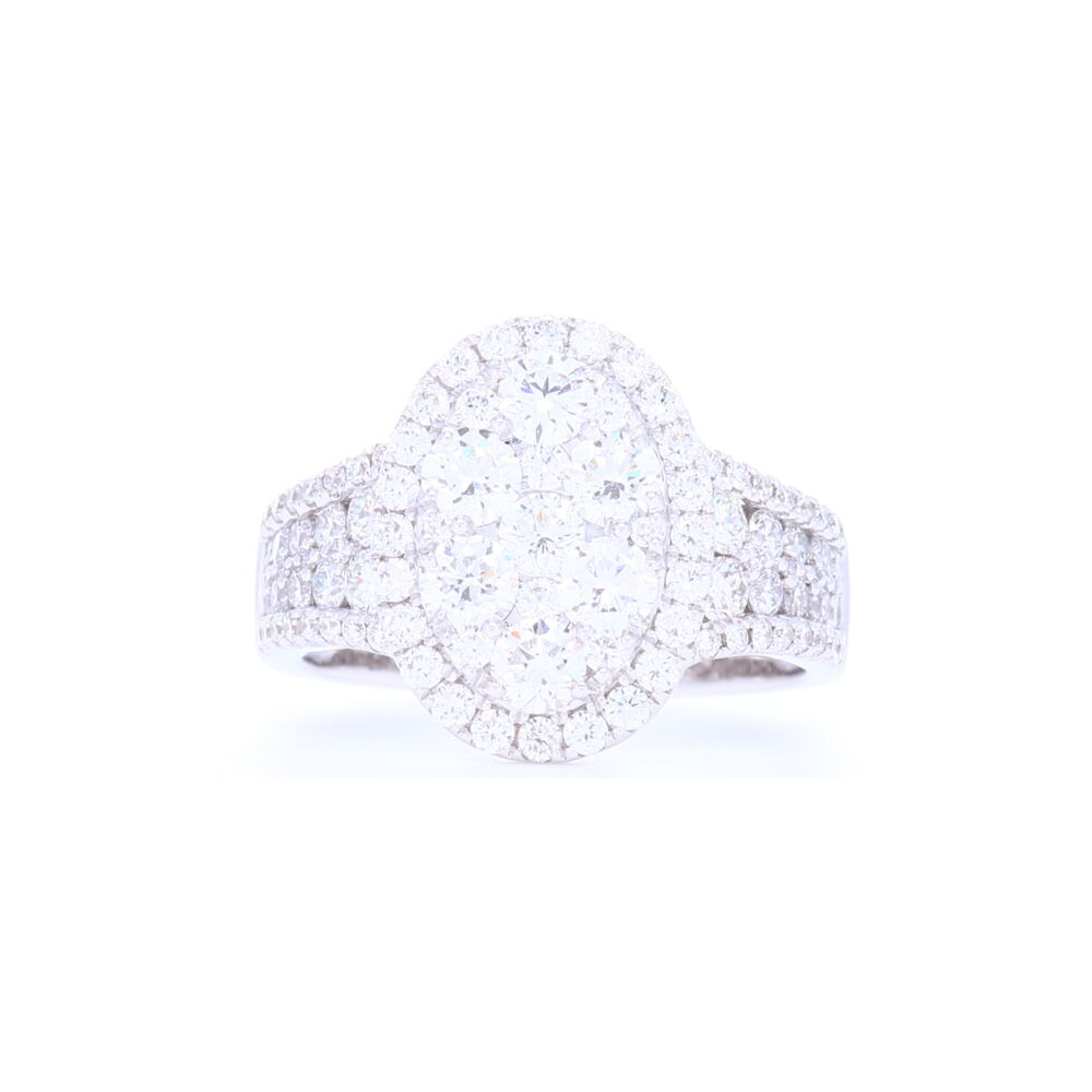 14k White Gold Oval Shaped Cluster Set Brilliant Cut Diamond Ring