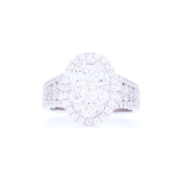Closeup photo of 14k White Gold Oval Shaped Cluster Set Brilliant Cut Diamond Ring