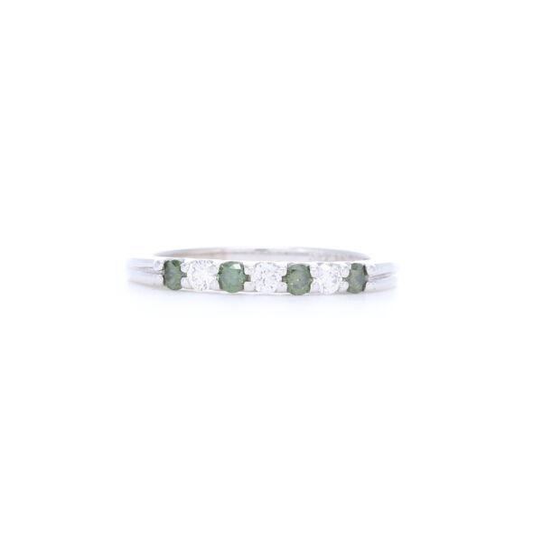 Closeup photo of 14k White Gold Prong Set Green and White Round Diamond Ring