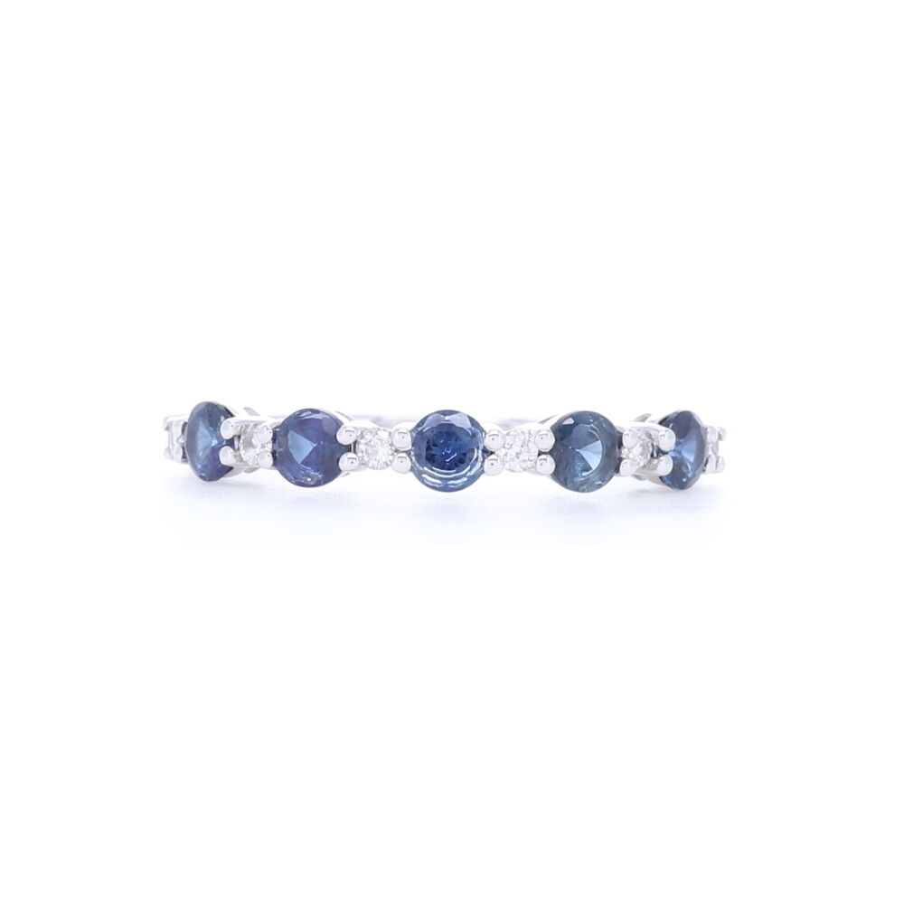 Prong Set Round Diamond and Sapphire Stack Ring in 14k White Gold