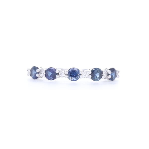 Closeup photo of Prong Set Round Diamond and Sapphire Stack Ring in 14k White Gold