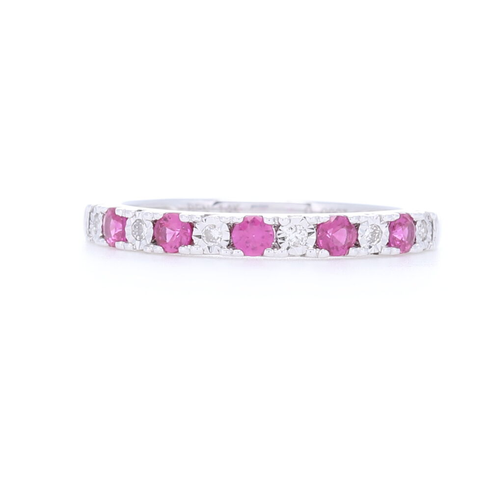 14k White Gold 1/2 Ruby and Diamond Prong Set Stack Ring
