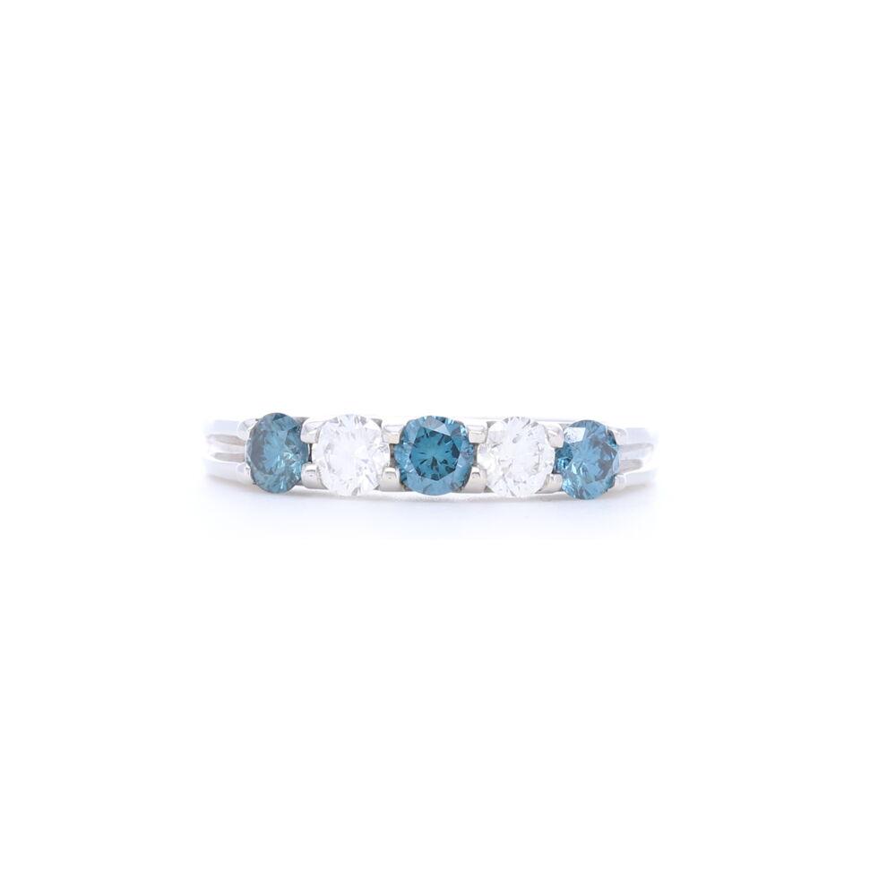 14k White Gold Round Diamond and Sapphire Stack Ring Band