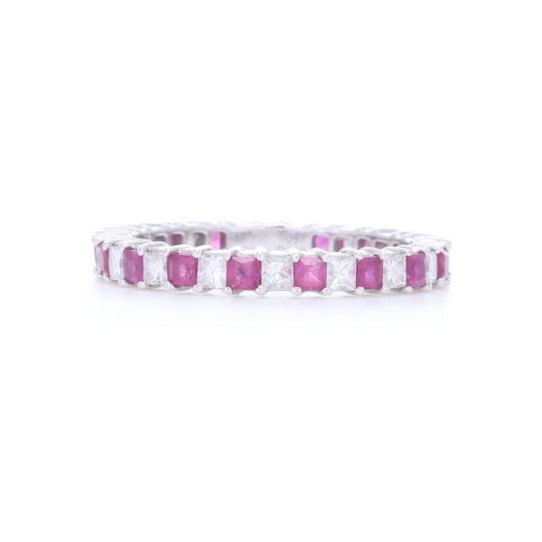 Closeup photo of Prong Set Princess Cut Rubies and Diamonds Stack Ring set in 14k White Gold