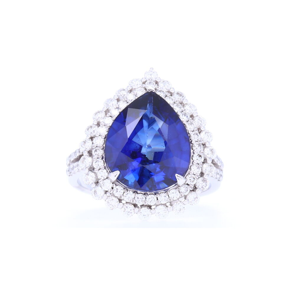 14k Halo Brilliant Cut Diamonds Around Diffused Pear Shaped Sapphire Ring