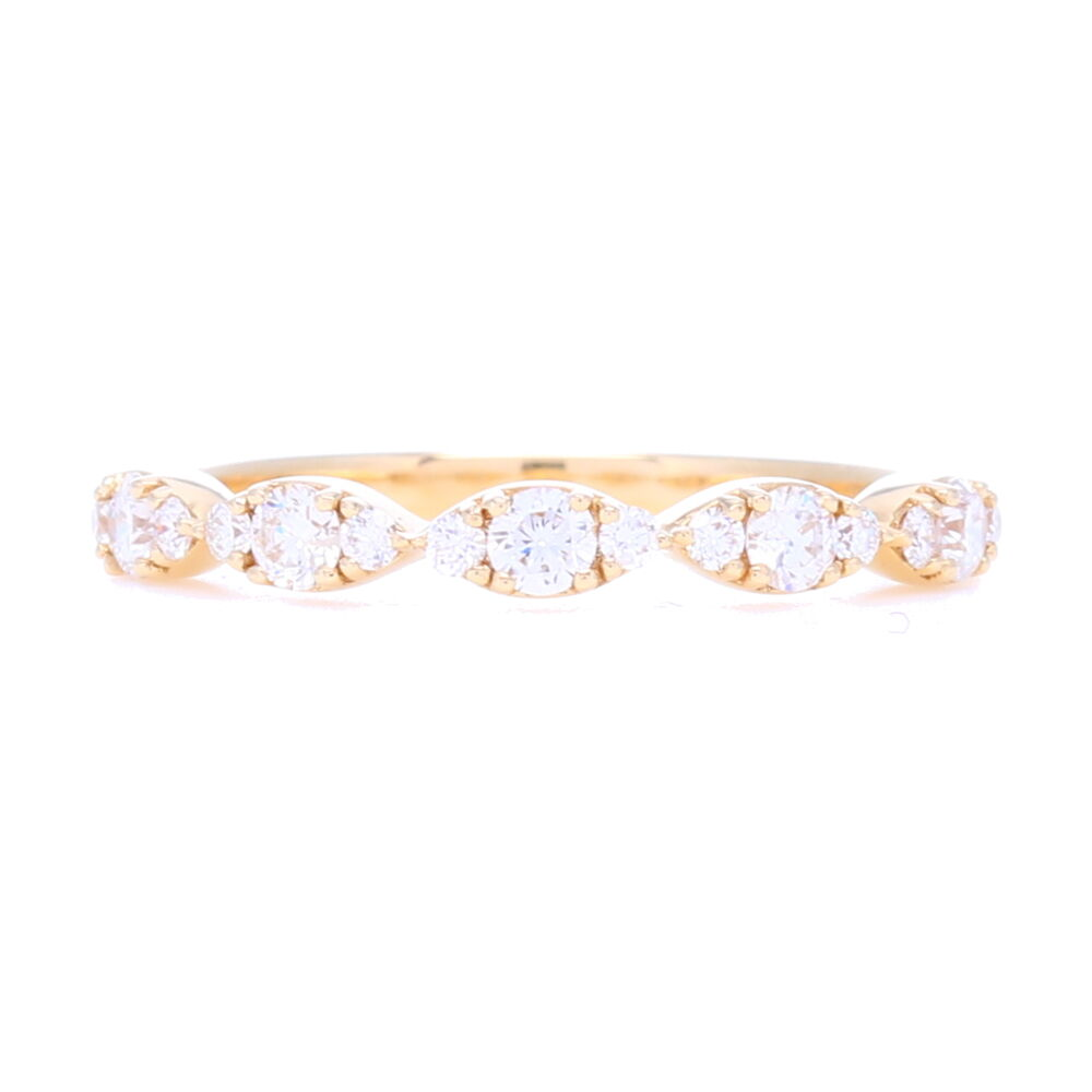 14k Gold, Brilliant Diamonds in Marquise Prong Set Pattern Stack
