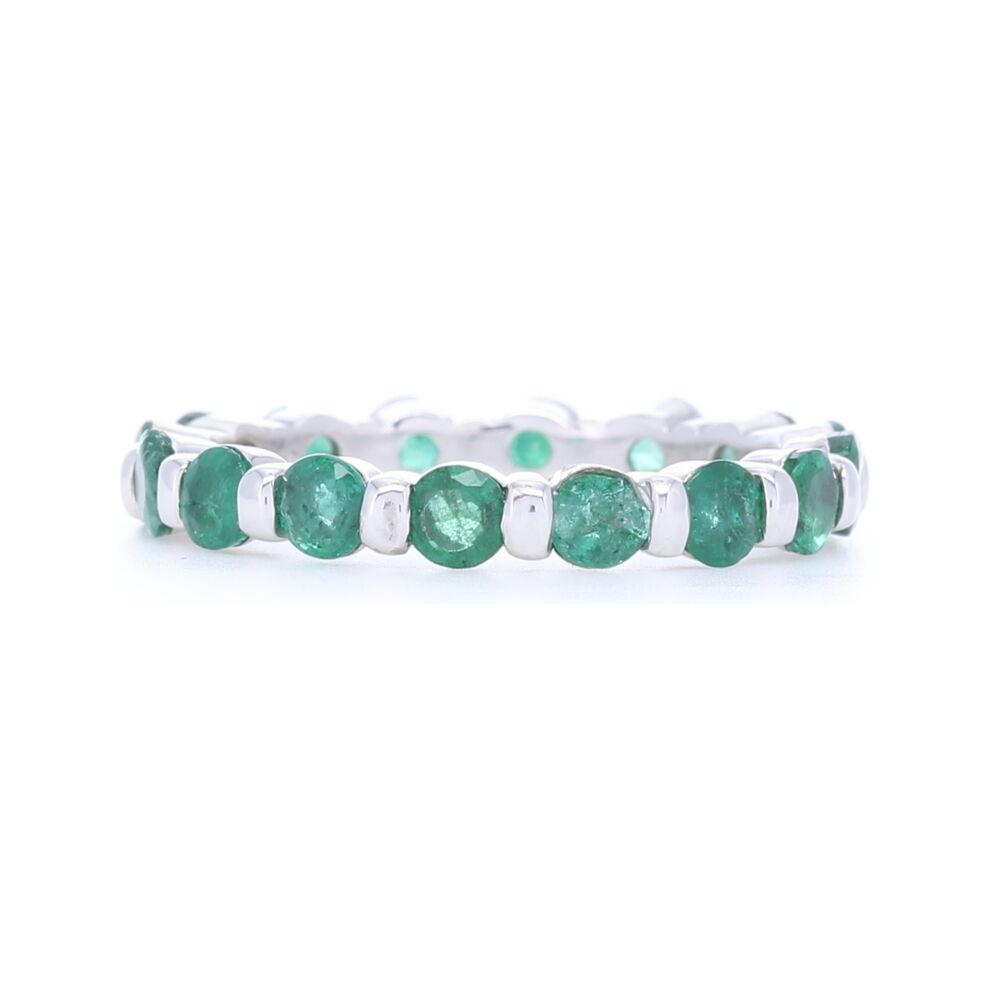 14k White Gold Round Cut Emerald Eternity Band