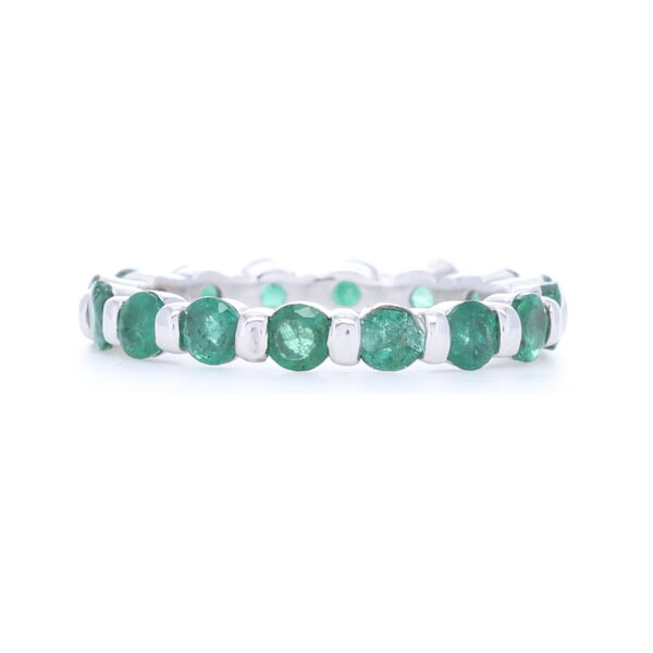 Closeup photo of 14k White Gold Round Cut Emerald Eternity Band