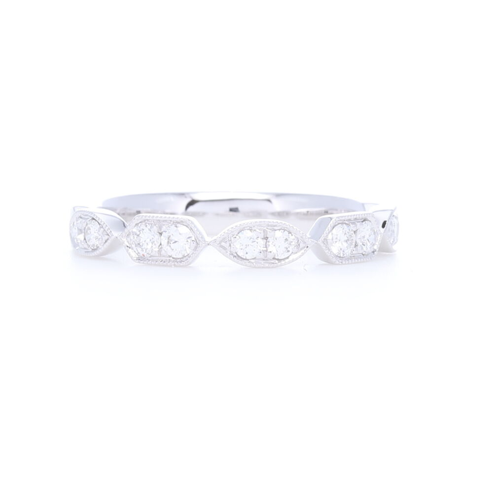 Image 2 for Prong Set Brilliant Cut Diamond Station Stack Ring