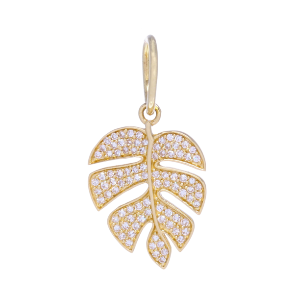 Closeup photo of Yellow Gold Diamond Palm Leaf Charm Pendant