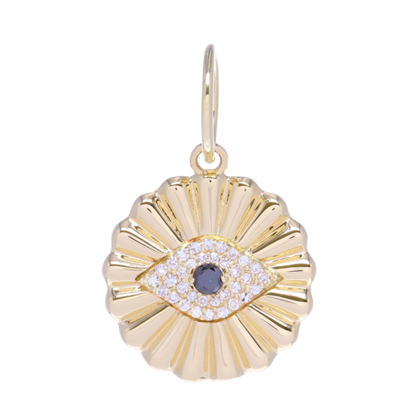 Closeup photo of Yellow Gold All Seeing Eye Pendant with Diamonds